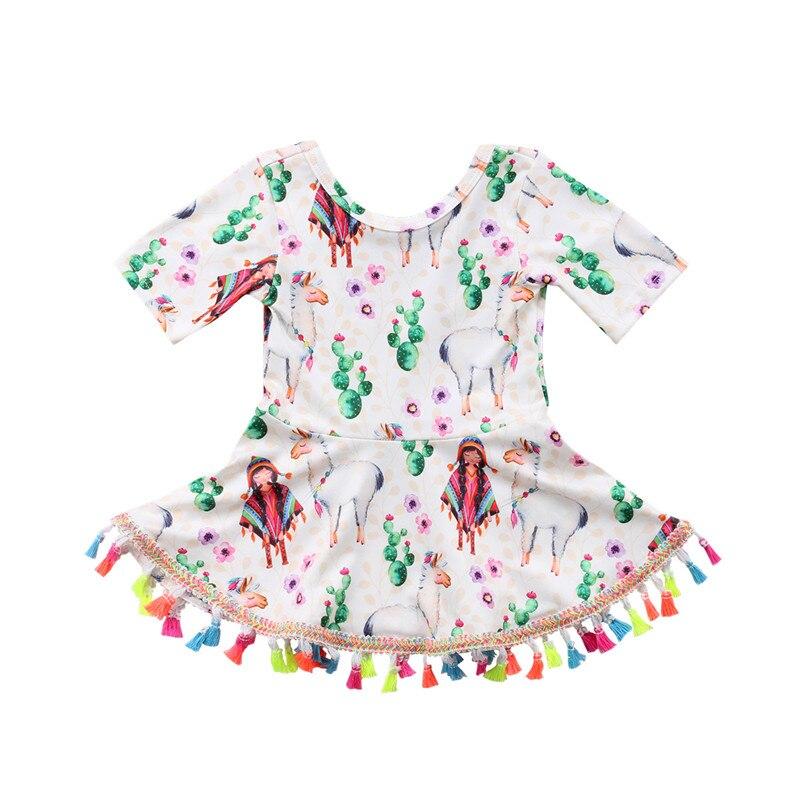 0-4Y precioso Alpaca vestido de verano estampado bonito para niños pequeños bebé niña estampado Floral Tutu vestido con borlas mini vestido de fiesta de princesa