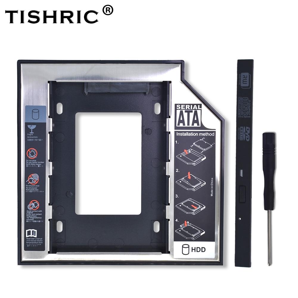 "TISHRIC 2018 Plastic Aluminum Universal Optibay 2nd HDD Caddy 9.5mm SATA 3.0 2.5"" SSD CD DVD to HDD Case Enclosure CD-ROM ODD"