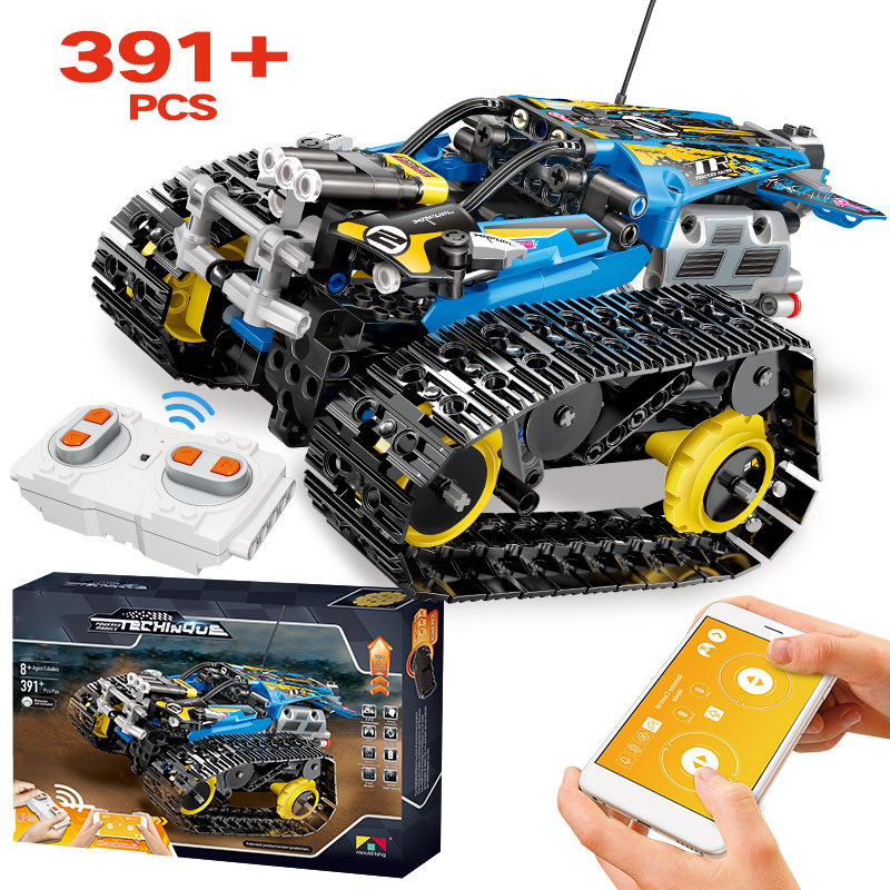 391pcs Creator APP Remote Control Car Bricks Technic RC Tracked Racer Model Building Blocks Toys For Children Gift