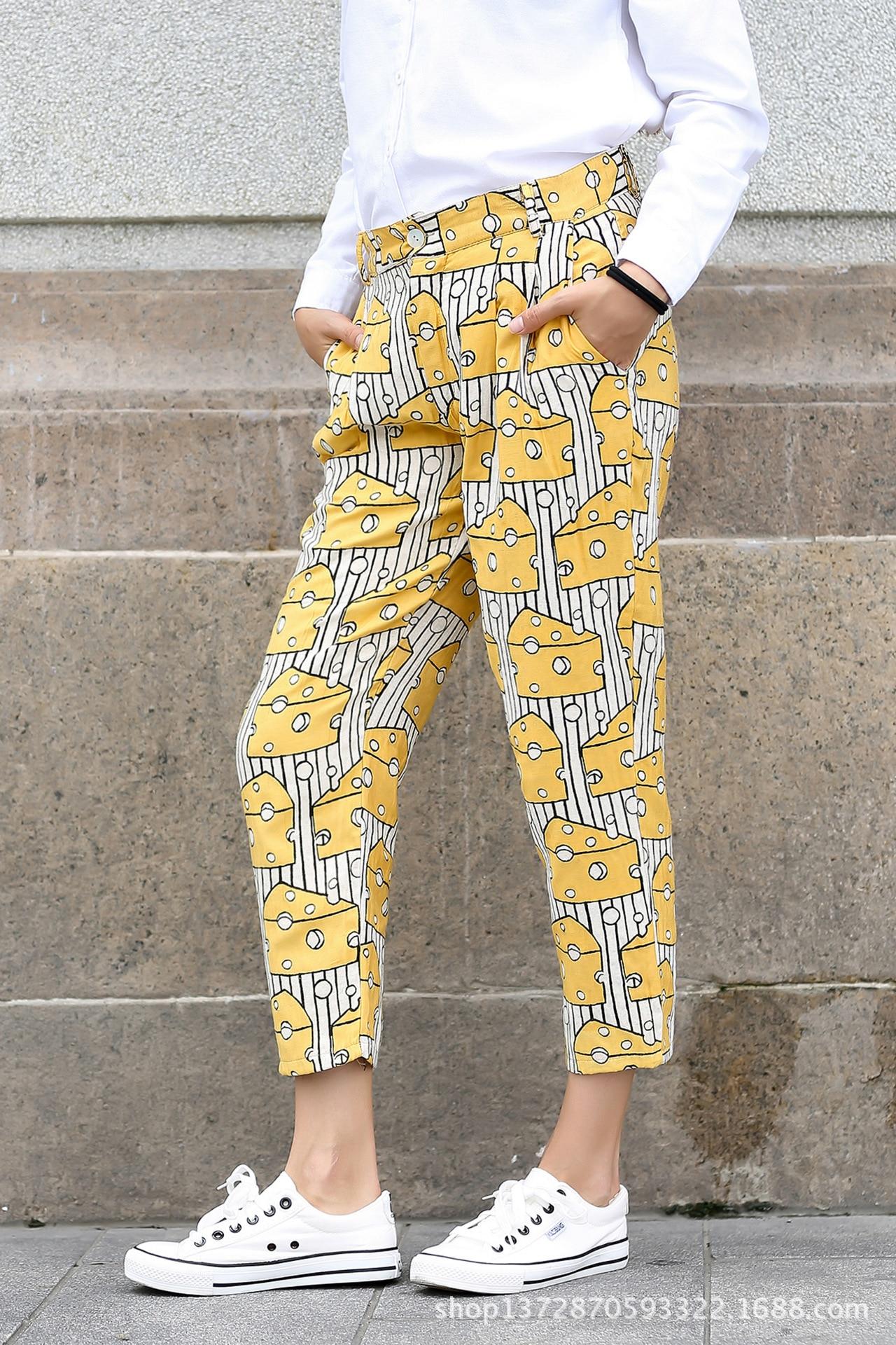 Summer 2017 Fashion Linen Haren Nine Elastic Waist Pants All-Match Loose Pantalon Womens Casual Pants Trousers