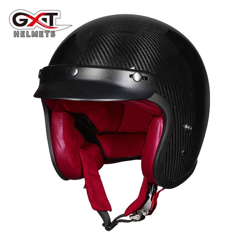 GXT-خوذة دراجة نارية نصف وجه من ألياف الكربون ، غطاء خفيف ، صيف 3/4