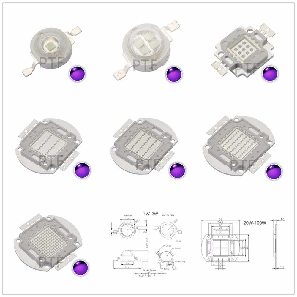 UV Purple LED integrated chips 365Nm 375Nm 385Nm 395Nm 405Nm 420nm High Power COB Ultraviolet Lights 3/5/10/20/30/50/100 Watt