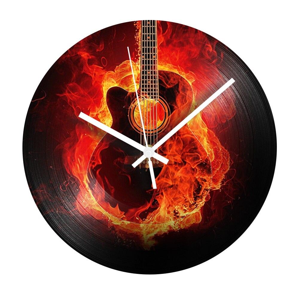 Reloj con grabación de fuego, mecanismo silencioso de vinilo, guitarra Vintage, reloj de pared decorativo para cocina, reloj de pared, decoración del hogar de 12 pulgadas