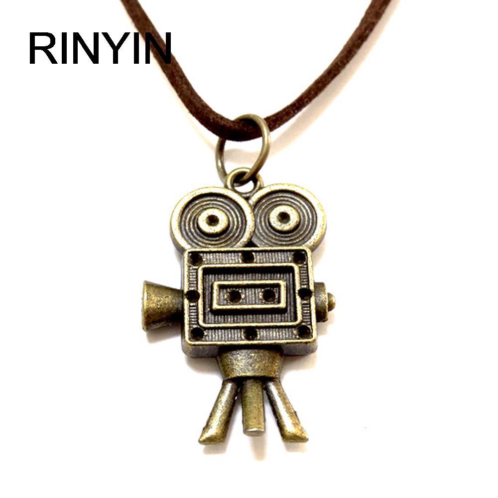 Velvet Necklace Leather Jewelry Punk Jewelry Vintage Necklace Hiphop Rock Style Robot Camera Pendant M1583