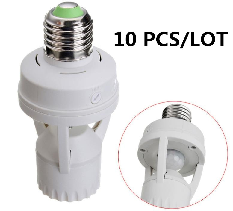 10 Uds. Sensor de movimiento PIR infrarrojo de 360 grados LED E27 lámpara Base bombilla interruptor Adaptador convertidor impermeable a prueba de polvo