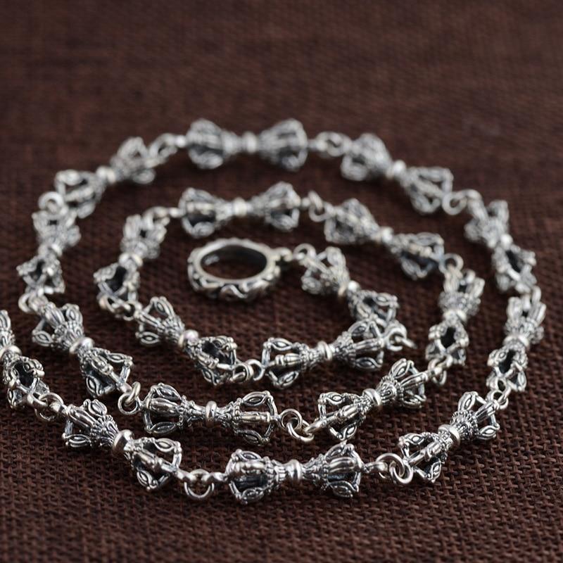 FNJ 925 Серебряное ожерелье 7 мм Панк цепь Якорь Крест ожерелья для женщин мужчин тайские S925 Твердые серебряные ювелирные изделия