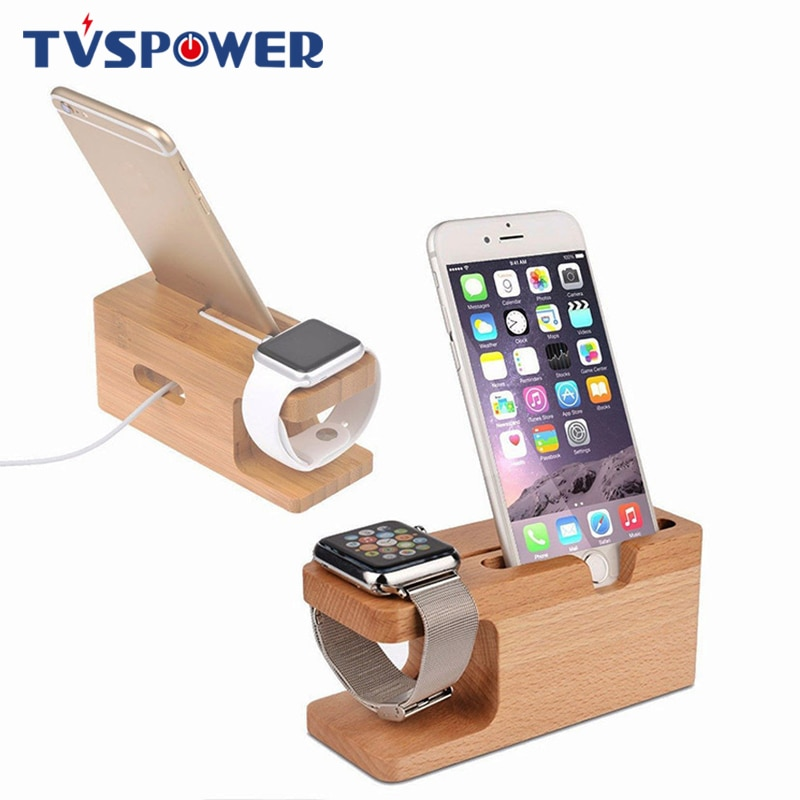Charging Dock Station Bamboo Wood Holder for iPhone 11 Pro x xs xr Samsung HUAWEI for Apple Watch Sm