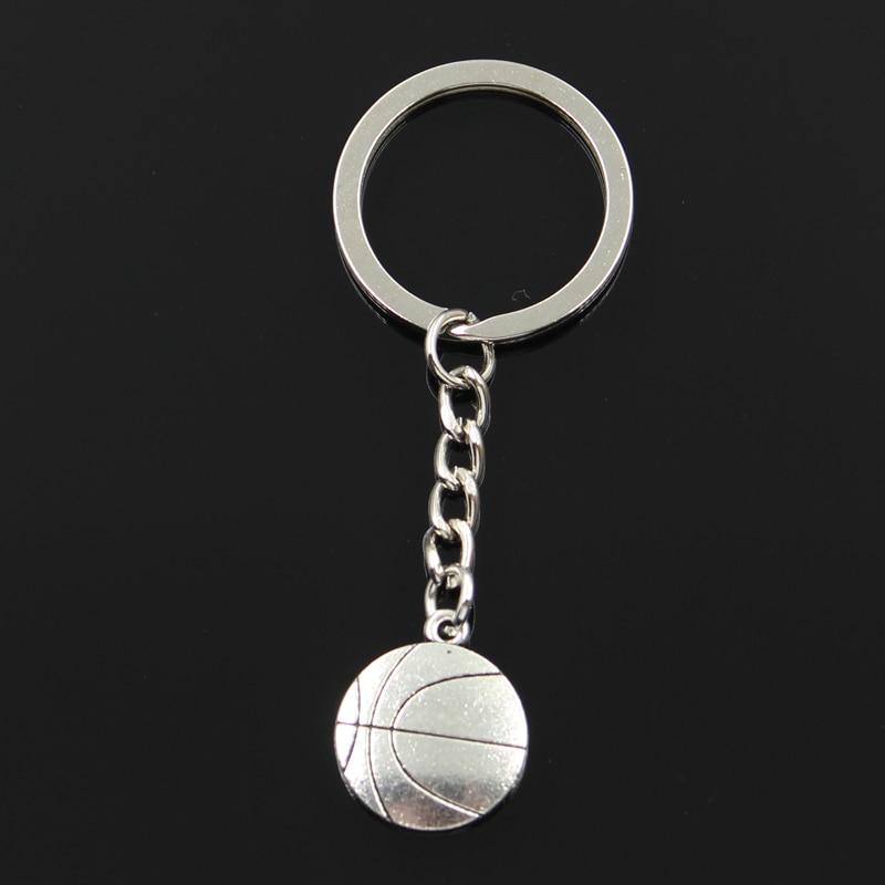 LLavero de Metal de 30mm a la moda, colgante de 18x21mm Chapado en Color plata antiguo para baloncesto