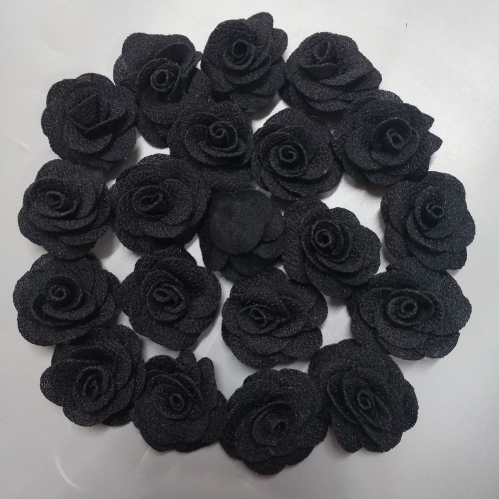20Pieces/Bag Black Rose Handmade 3.5CM Fabric Rose Cotton Cloth Flower Hand DIY Wedding Bouquet Flower Material Hair Accessories