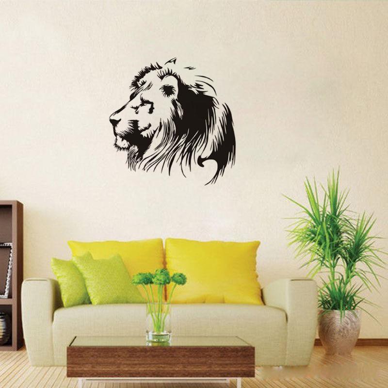 Pegatinas de vinilo de cabeza de león para pared, decoración artística para...