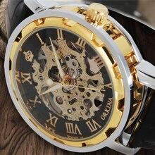 MG. ORKINA Luxury Skeleton Mens Mechanical Watch Gold Roman Numbers Genuine Leather Hand-Winding 2020 Reloj Hombre Male Clock