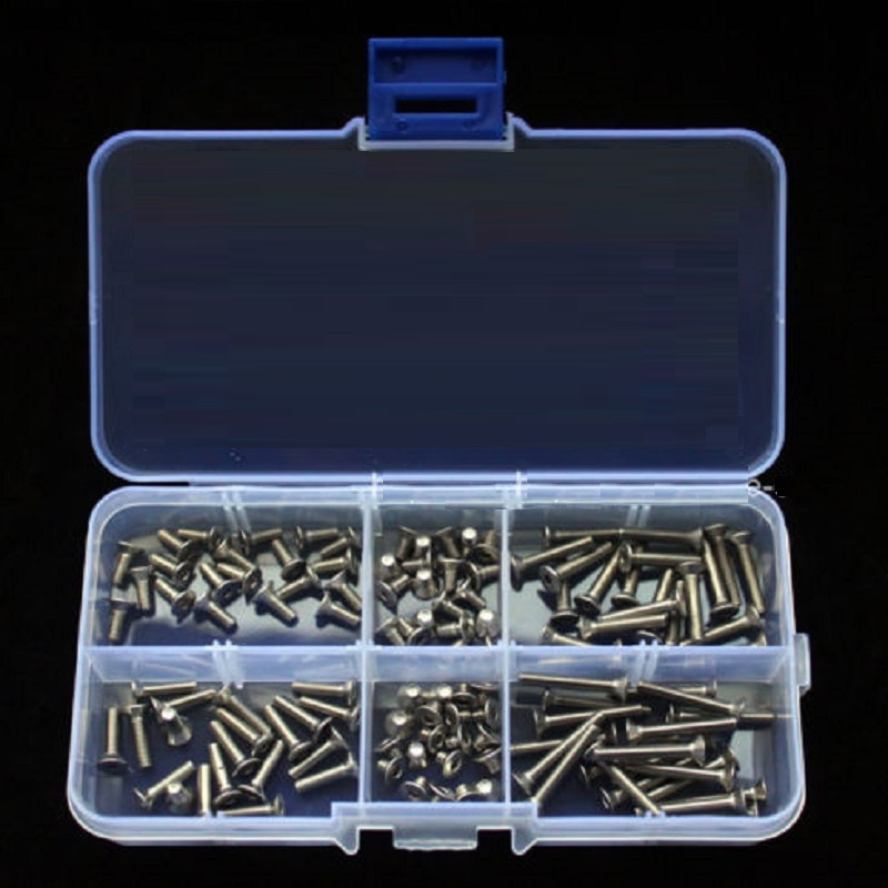 140pcs/set  M3 * 5 / 6 / 8 / 10 / 12 / 16 /20mm stainless steel 304 countersunk hex socket flat head Accessories Kit Sample box