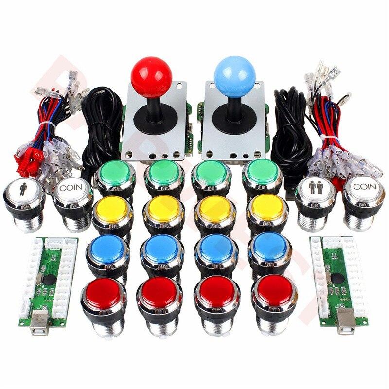 Arcade Joystick DIY Kit Zero Delay Arcade DIY Kit USB Encoder To PC Arcade Joystick +Chrome led Push Buttons for MAME & JAMMA