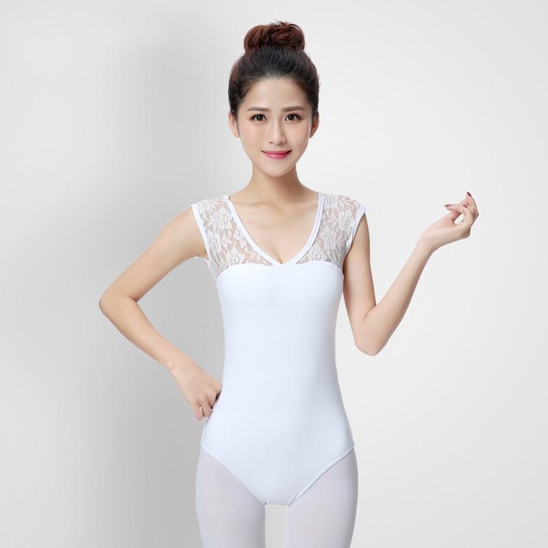 Leotardos de Ballet sin mangas de encaje blanco para mujer, trajes de Bailarinas para practicar gimnasia, ropa de baile DNV10272