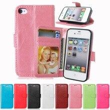 4S support de portefeuille en cuir de luxe étui pour iPhone 4 4S coque de téléphone à rabat étui pour iPhone 4 avec porte-carte