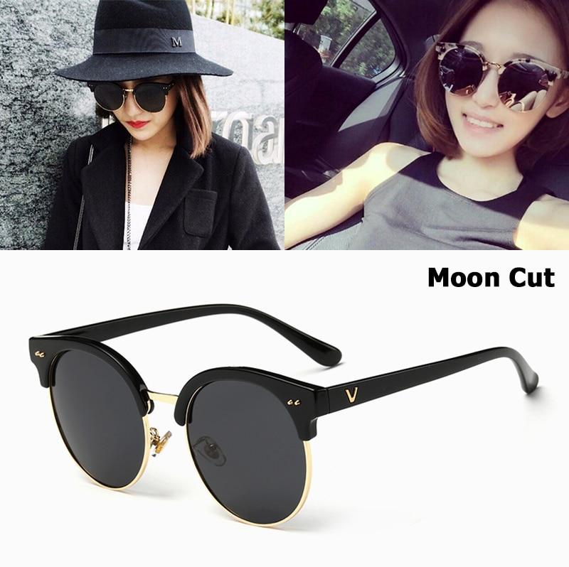 JackJad 2017 nueva moda mujer medio marco gafas De Sol con corte De Luna diseño De marca Popular gafas De Sol redondas Oculos De Sol femenino 1561