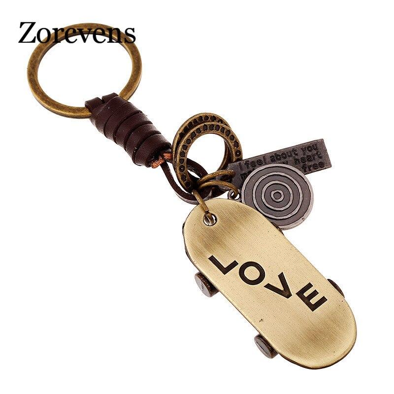ZORCVENS Alloy Mini Skateboard Couple Letter LOVE HandBag Keyring Leather Keychain For Car Purse Bag Buckle key Holder