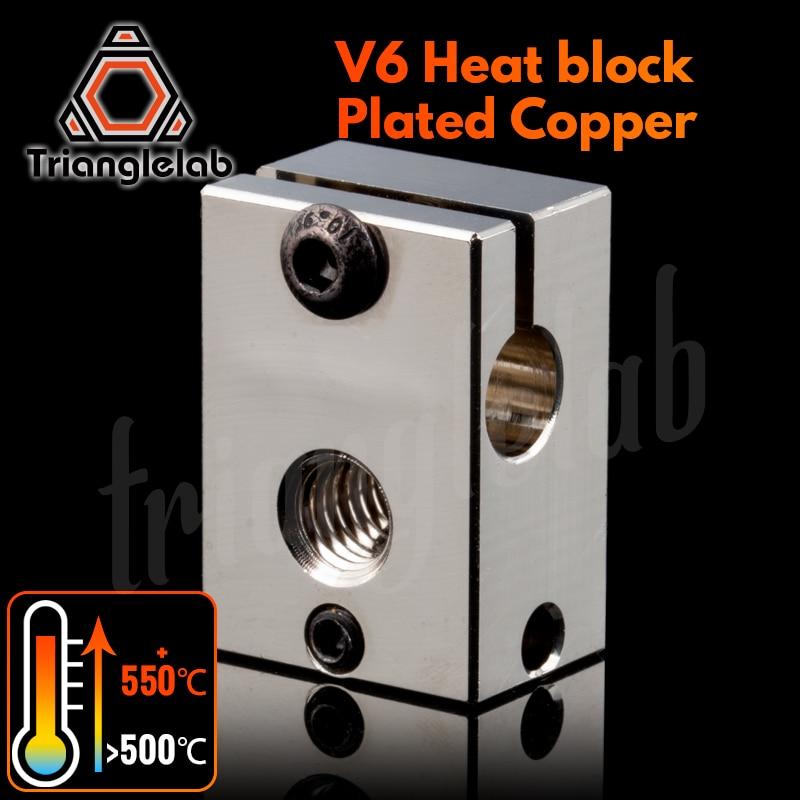 Bloque de calor de cobre chapado trianglelab PT100 V6 para impresora E3d V6 Hotend, bloque de calor 3D para Cartucho de Sensor, extrusora BMG TItan