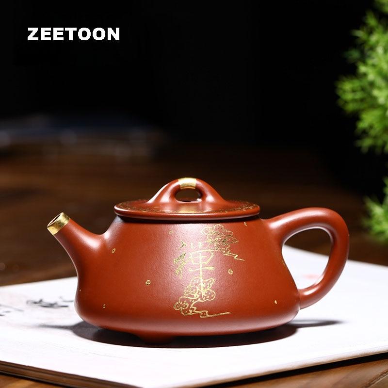 180cc auténtico Yixing tetera maestro contorno hecho a mano en oro Ziye piedra cuchara juego de té Kung Fu color púrpura arcilla té