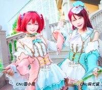 customizeanime love live sunshine aqours white valentines day lolita dress dia kanan cosplay costume halloween suit for wom