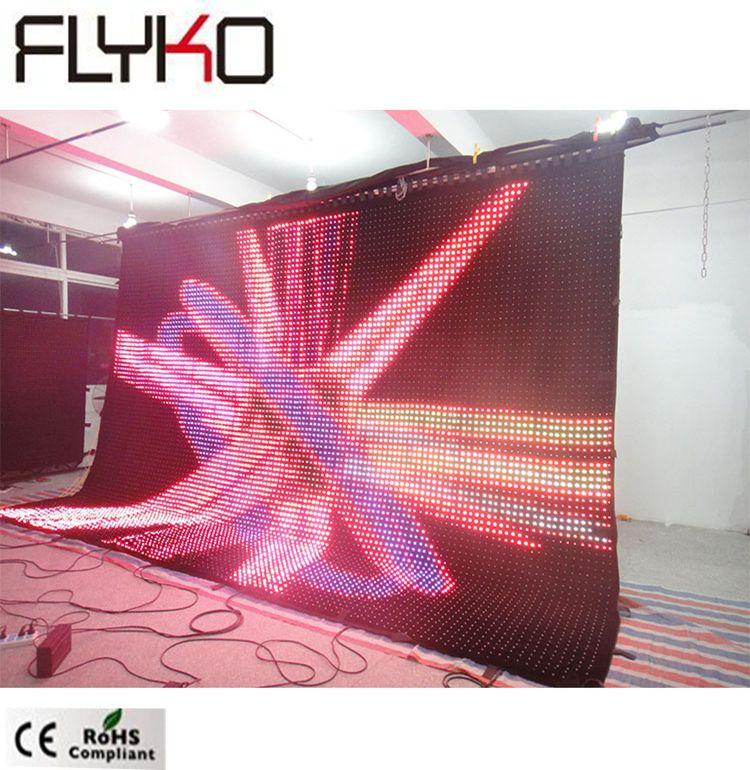 Flyko p50mm 4x6m concerto backdrops palco moda dobrável led cortina de vídeo