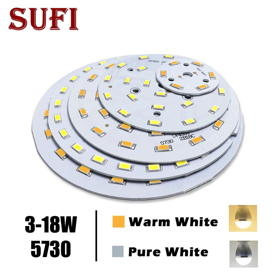 Envío gratis 3W 5W 7W 9W 12W 18W5730 brillo SMD tablero de luz Panel de lámpara para 3 5 7 9 12 18W LED Bombilla PCB con LED