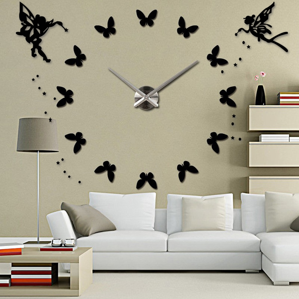 Angel 3D DIY Big Wall Clock Modern Design Large Clocks for Living Room Acrylic Mirror Self adhesive Wall Stickers Home Decor