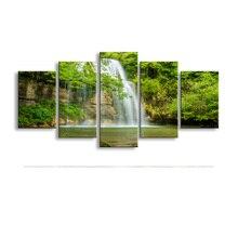 Toile toile peinture à lhuile 5 pièces   Pierres imprimées haute définition, cascade darbres, affiche et image murale art salon,