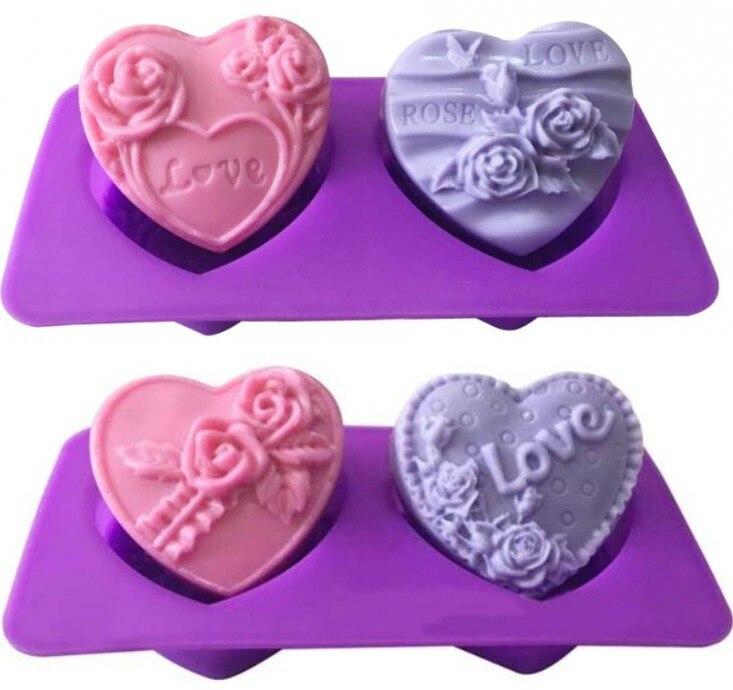 Luyou 1 шт. силиконовая форма для мыла ручной работы узор LOVE rose 2 в форме сердца цветочный узор помадка форма для торта FM1832