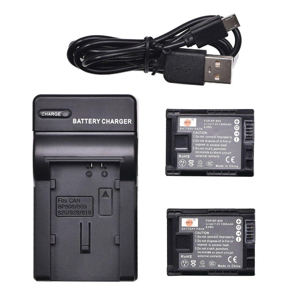 DSTE 2 PCS BP-809 BP809 Kamera Batterie mit USB Ladegerät für HF10 HF100 HF11 HG20 HG21 M30 M300 Kamera