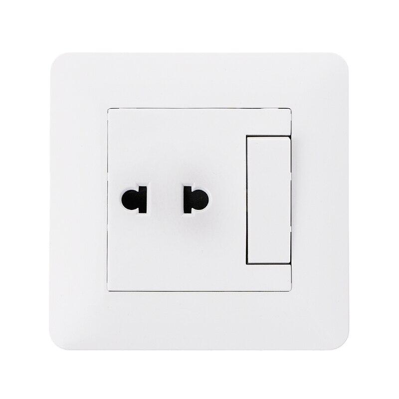 Enchufe de pared 2 agujeros toma de corriente Universal con 1 Gang 2 Way interruptor de luz de porcelana Panel de pared blanco