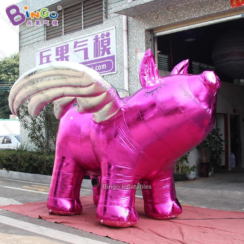 Personalizado 3,7x3,7x2,5 metros cerdo Rosa inflable con alas de plata/cerdo volador inflable/cerdo inflable juguetes inflables