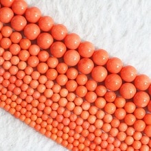 Mode naturel rouge orange corail nouveau 2mm 3mm 4mm 6mm 8mm offre spéciale ronde perles en vrac bijoux à bricoler soi-même 15 pouces B652