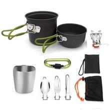 Ensemble de Pots de Camping en plein air, ustensiles de cuisine, antiadhésifs avec cuillère pliable, fourchette couteau, Pot à gaz, touriste 1 ensemble