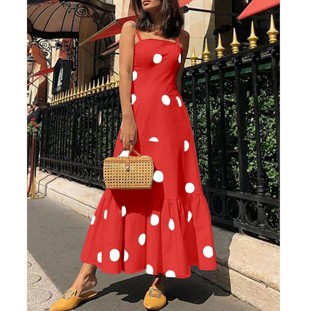 Nueva moda mujer verano Boho Casual Maxi vestido largo chica señora tiras Polka Dot vacaciones fiesta playa vestido solero