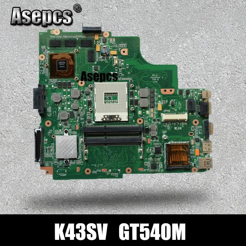 Asepcs original K43SV placa base de ordenador portátil para For Asus K43SV K43S X43S K43SJ K43SM placa base probada GT540M