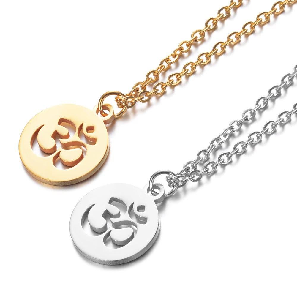 2019 316l aço inoxidável om símbolo pingente colar ouro tom de aço om yoga longa corrente colar jóias para mulheres