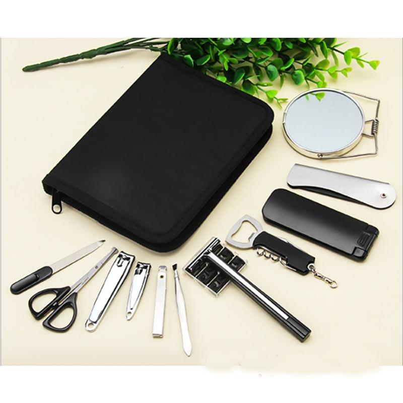 12Pcs/set Men Boy Travel Professional Nail Manicure Set Grooming Kit Include Nail Clipper Tweezer Mirror Nail File Razor Scissor