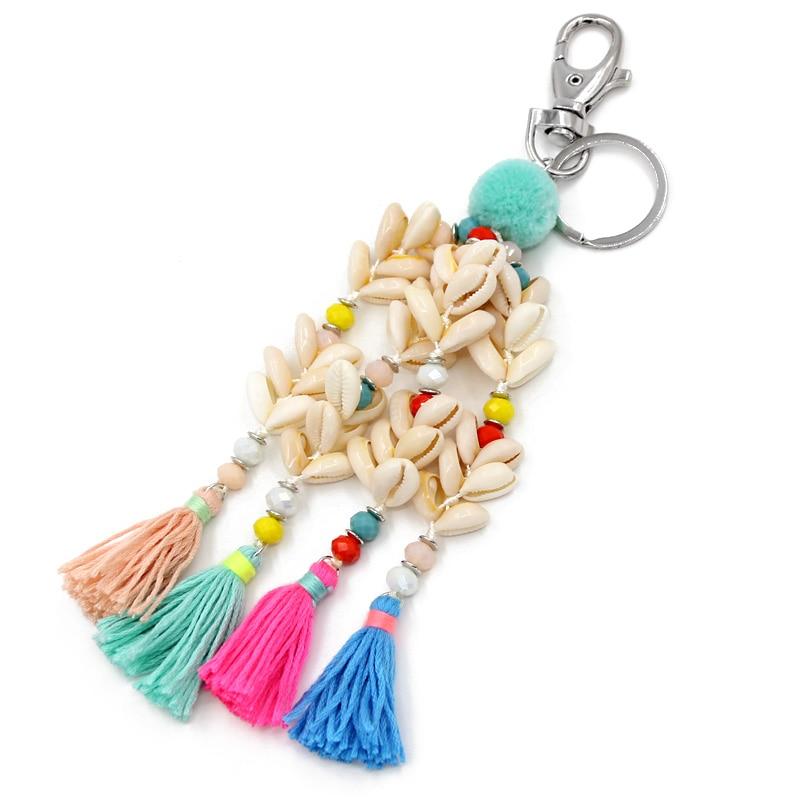 VONNOR, joyería, llavero hecho a mano con conchas, colgante de borla, accesorios bohemios, llaveros de pompón para baratija femenina