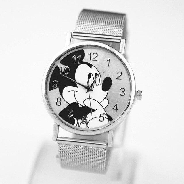 Zegarki meskie marca de moda relojes de Mickey nuevo dibujos animados reloj de cuarzo mujeres marca reloj tous señora de la manera de la trenza de la correa reloj dama Acero inoxidable señoras relojes reloj de mujer