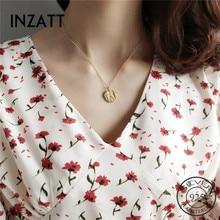 INZATT réel 925 en argent Sterling Surface irrégulière ronde pendentif collier pour les femmes mode bijoux fête 2018 accessoire de mode