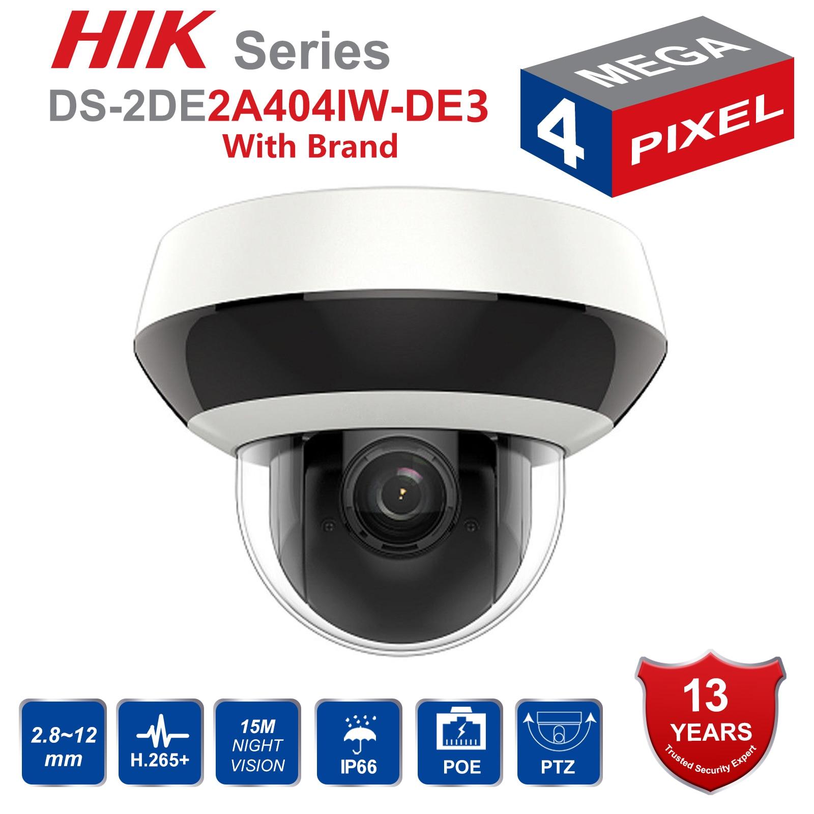 Hik câmera ip ptz h.265 DS-2DE2A404IW-DE3 4mp 4x zoom 2.8-12mm lente de rede de vigilância por vídeo poe dome cctv câmera áudio