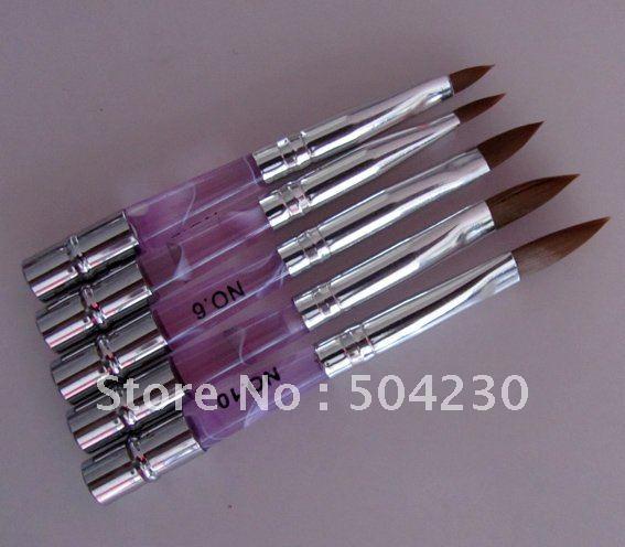 5 tamaños de pinceles de uñas de acrílico Sable arte UV Gel tallado lápiz pincel Set desmontable mango al por mayor