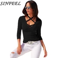 sinfeel womens t shirt summer plus size tee basic shirts women sexy halter v neck long sleeve casual big size female tops femme