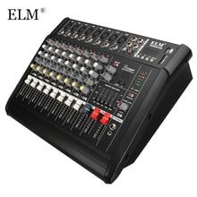 Elm 전문 가라오케 오디오 사운드 믹서 8 채널 마이크 믹싱 앰프 콘솔 usb 내장 48 v 팬텀 파워