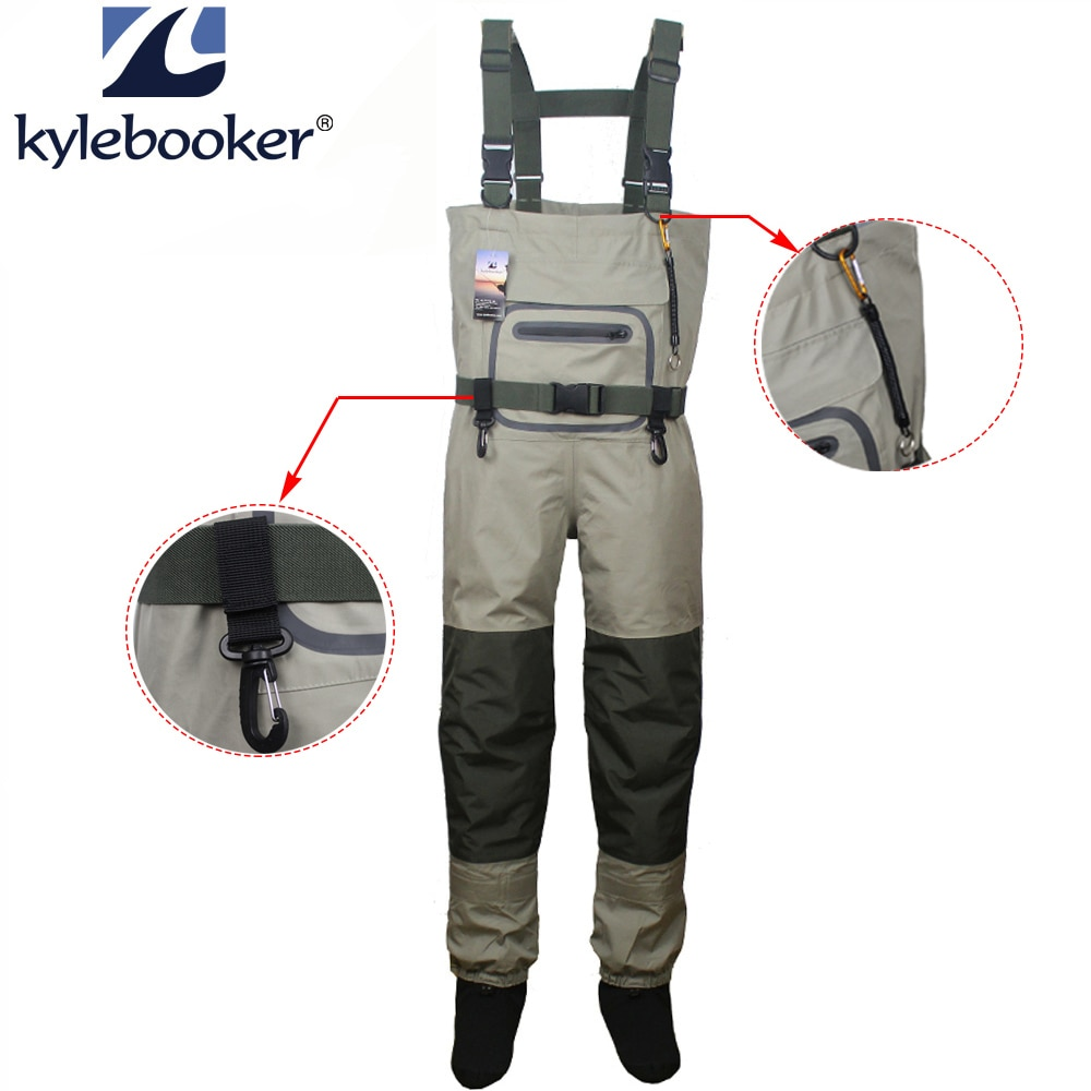 high jump ultra thin 0 34mm siamese fishing waders waterproof 700d nylon pvc breathable chest height pocket belt fishing overall Fishing Waders Durable and Comfortable Breathable Stocking foot Chest Wader kits  for Men and Women