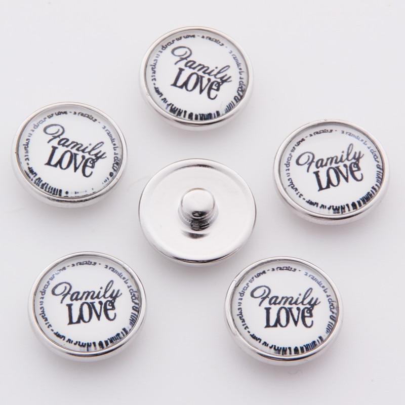 Nueva moda de vidrio cúpula de metal jengibre 18mm Bordure botón amor familia encantos de la joyería de Diy