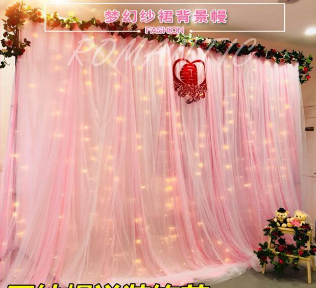 New wedding stage gauze background gauze cloth curtain decoration birthday scene layout saman background cloth