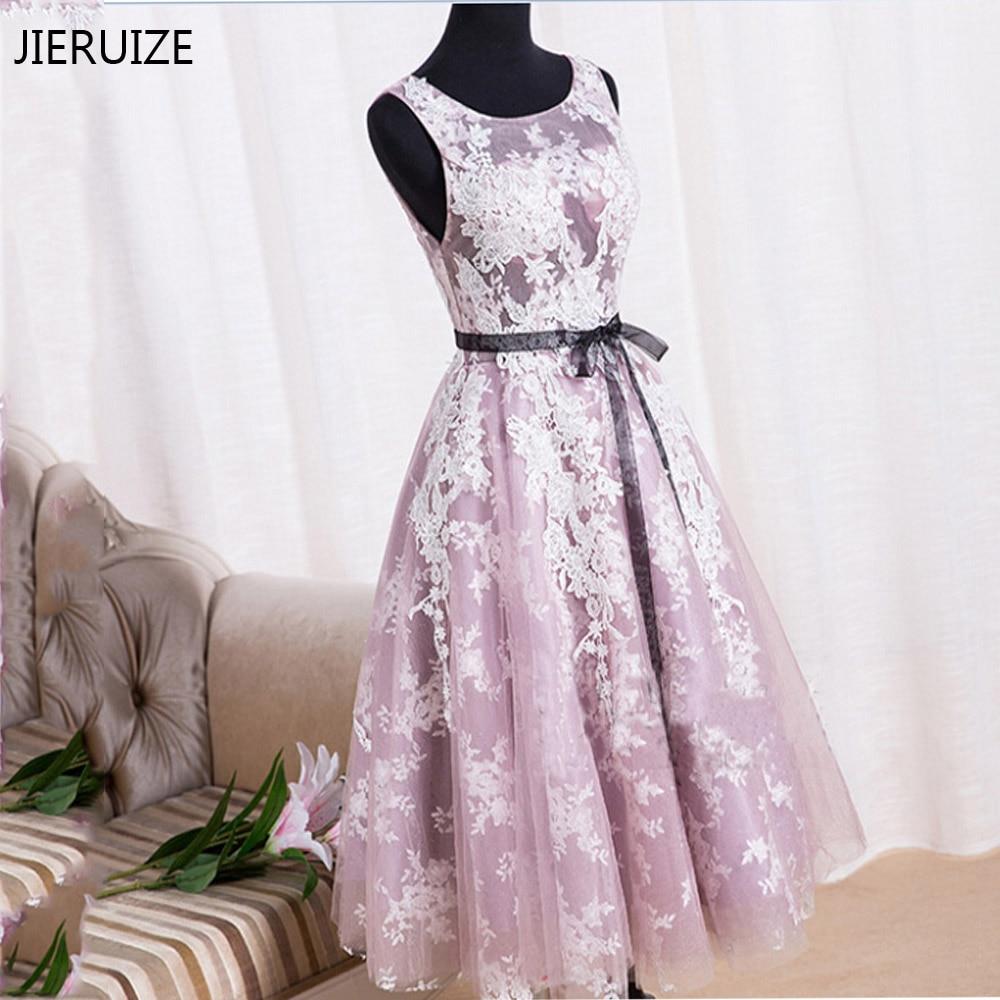 JIERUIZE-فستان كوكتيل من الدانتيل الأبيض والأرجواني ، فستان سهرة قصير رخيص ، 2016