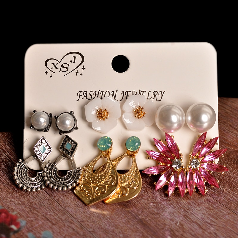 New fashion women jewelry wholesale girls birthday party flower pearl ear stud  pretty pink  beautiful 6pair /set earrings gift
